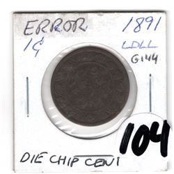 1891 LARGE CENT ERROR: DIE CHIP C