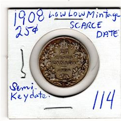 1908 25 CENTS SCARCE SEMI-KEY DATE LOW MINTAGE