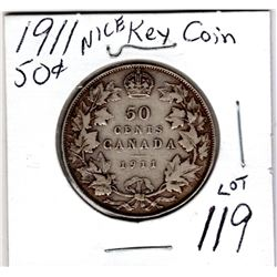 1911 50 CENT NICE KEY COIN