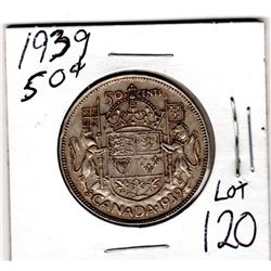 1939 GEORGE VI 50 CENT PIECE