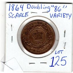 1864 NEW BRUNSWICK 1 CENT ERROR DOUBLE 86