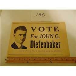 "DIEFENBAKER 8 ½"" BY 13 ½"" POSTER 1960'S VOTE FOR JOHN G. DIEFENBAKER"
