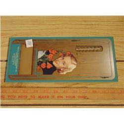 VINTAGE FORT QU'APPELLE ADVERTISING MIRROR THERMOMETER CALENDAR HOLDER