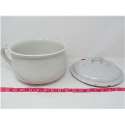 LIDDED THUNDER MUG - LID HAS CHIPS - FROM WILKINSON, ENG.