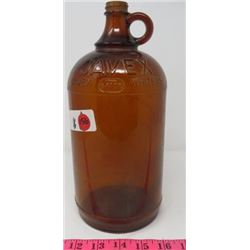 BROWN GLASS JAVEX JUG 64 OZ.