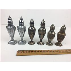LOT 3 PAIR PLATED SALT AND PEPPER