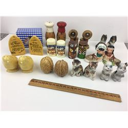 LOT OF 12 SALT AND PEPPER (CO-OP, TOTEM POLES, NATIVES, TELEPHONES…)