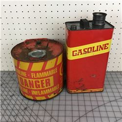 LOT OF 2 VINTAGE METAL GAS CANS