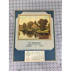 "1944 SHELLBROOK AND FOXDALE ADVERTISING CALENDAR  15""X12"""