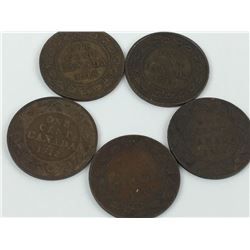 LOT OF CANADA LARGE PENNIES (1911, 12, 14, 18, 19)