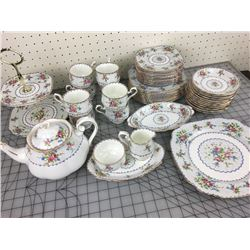 "46 PIECES ROYAL ALBERT ""PETIT POINT"" CHINA GREW POT CREAM SUGAR EXCELLENT COND."