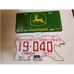 NWT AND JOHN DEERE LICENSE PLATES