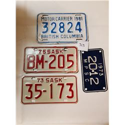 3 MOTORCYCLE AND 1 CARRIER LICENSE PLATES
