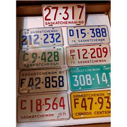 9 SASK LICENSE PLATES, 1940s *REPAINTED*