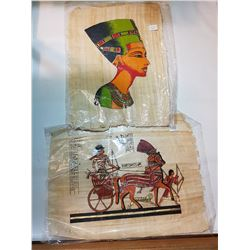 "VINTAGE EGYPTIAN PAPYRUS PAINTINGS 16""X12"""