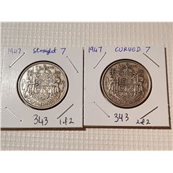1947 CANAD 50 CENT COINS, *1 CURVED AND STRAIGHT VARIETY*