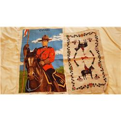 RCMP OLD PURE LINEN, MOUNTIE ON HORSE & CANADA TOWEL