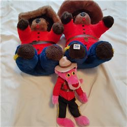 RCMP TEDDY BEARS - 2, & PINK PANTHER STUFFED TOYS