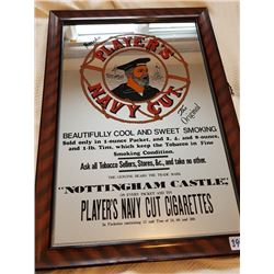 """PLAYER'S ADVERTISING GLASS MIRROR SIGN 14""""X20"""""""