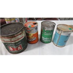 4 OIL TINS, GULF, COOP, MOBIL JET OIL II - PARTLY FULL, BA 5LB OIL