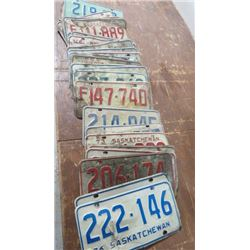 1970s SASK LICENSE PLATES, APPROX 32