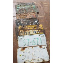 1960s SASK LICENSE PLATES, (APPROX 12)