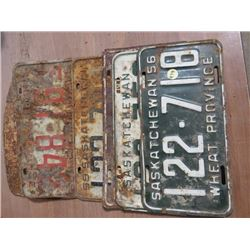 1950s SASK LICENSE PLATES, QTY 6