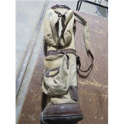 VINTAGE GOLF BAG AND 2 CLUBS