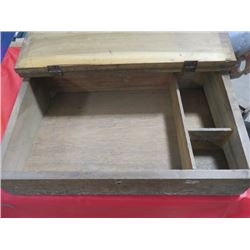 WOODEN ARTIST CHEST, 25X17X7, HINGED LID