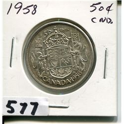 1958 CNDN SILVER 50 CENT PC