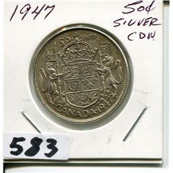 1947 CNDN SILVER 50 CENT PC