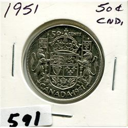 1951 CNDN SILVER 50 CENT PC
