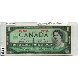 1967 CNDN CENTENNIAL ONE DOLLAR NOTE