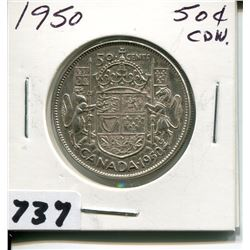 1950 CNDN SILVER 50 CENT PC