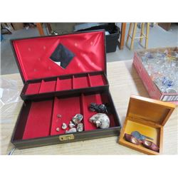 LARGE JEWELLERY BOX W/SHELLS, (PENCIL SHARPENER, GOLF TEE, ETC)
