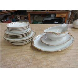 LOT OF DISHES, SMALL PLATTER, GRAVY BOAT & DISH, BOWLS, SM PLATES, ETC