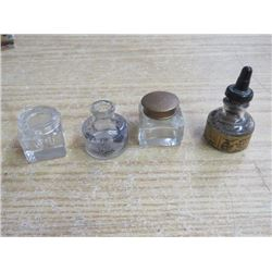 3 INK WELLS 2 W/LIDS, 1 INK BOTTLE, HIGGENS AMERICAN INDIAN INK