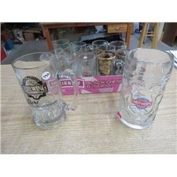 LOT OF BEER STEINS & GLASSES