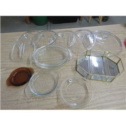 LOT OF PYREX & GLASS, LIDS, PLATES, ETC & JEWELLERY BOX, *NO LID*