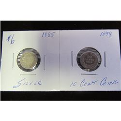 1885 & 1898 SILVER 10 CENT COINS (2)