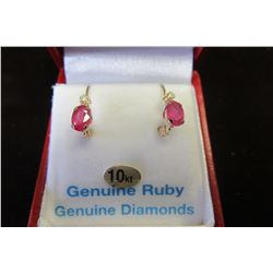 10 KT YELLOW GOLD GENUINE RUBY & WHITE SAPPHIRE EARRINGS