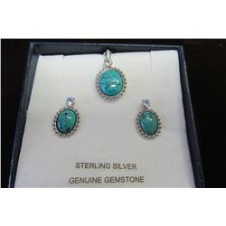 STERLING SILVER 8X6 MM GENUINE TURQUOISE AND MOONSTONE EARRINGS & PENDANT