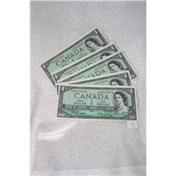Canada One Dollar Bills (5)