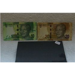 S. African 10 & 20 Rand Bank Notes