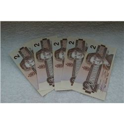 Canada Two Dollar Bank Notes (5)