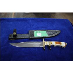"8"" Ash 440C Steel Knife; Bone Handle; Black Sheath"