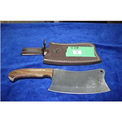 Damascas Meat Cleaver w/Wood Handle & Embossed Sheath