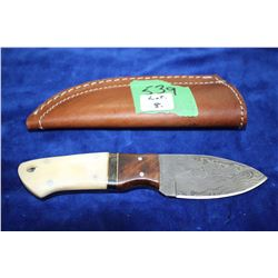 "3"" Damascus Knife; Wood, Brass & Bone Handle; Leather Sheath"