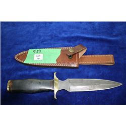 "7"" Dagger-Like Damascus Blade; Brass Guard & Pommel; Micarta-Like Handle; Leather Sheath"