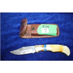"3 1/4"" Damascus Folding Lockback Knife; Bone & Brass Handle; Leather Belt Sheath"